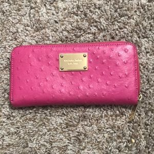 Pink Ostrich Zipper Wallet